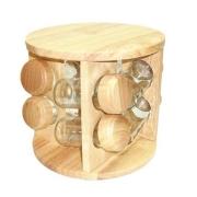Porta tempero madeira com potes de vidro - 8 potes