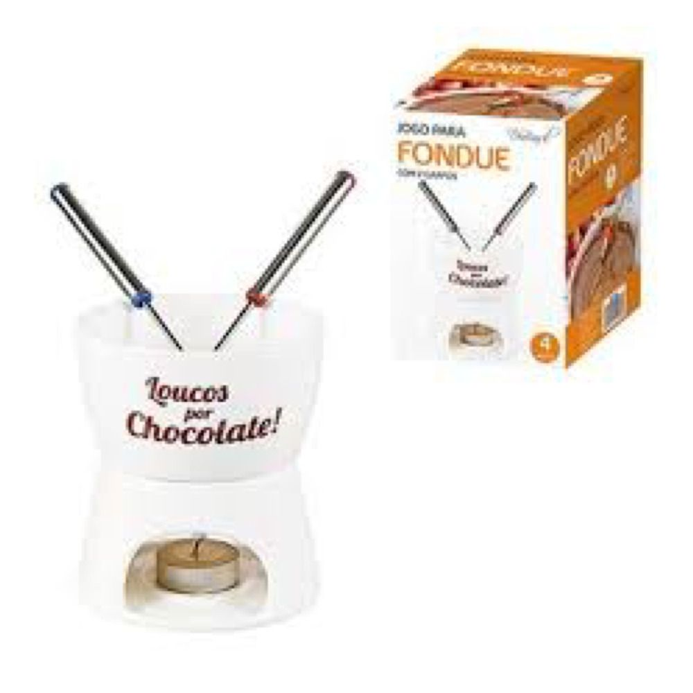 Jogo de Fondue Porcelana 350ml c/ 2 garfos