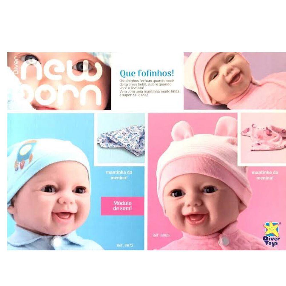 Bebê Boneca estilo Reborn NEW BORN Soninho MENINO c/ Mantinha e Touquinha