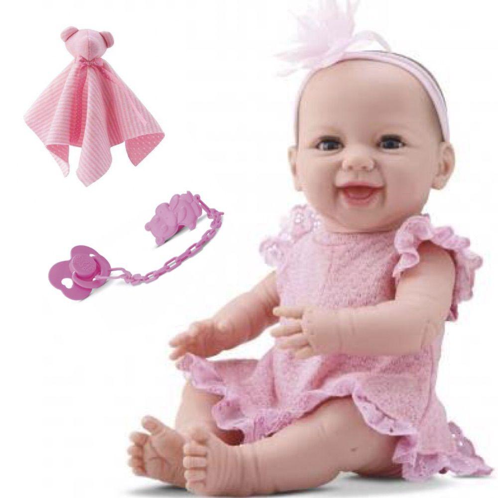 Bebê Boneca estilo Reborn NEW BORN DENGO 32cm Vinil com Biquinho e Naninha - Abre e fecha os olhos