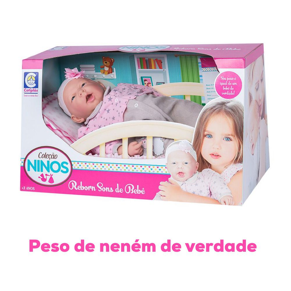 Boneca Bebê Reborn Realista Coleção NINOS - 50cm Menina Branca mod2 c/ Som e peso igual de Neném