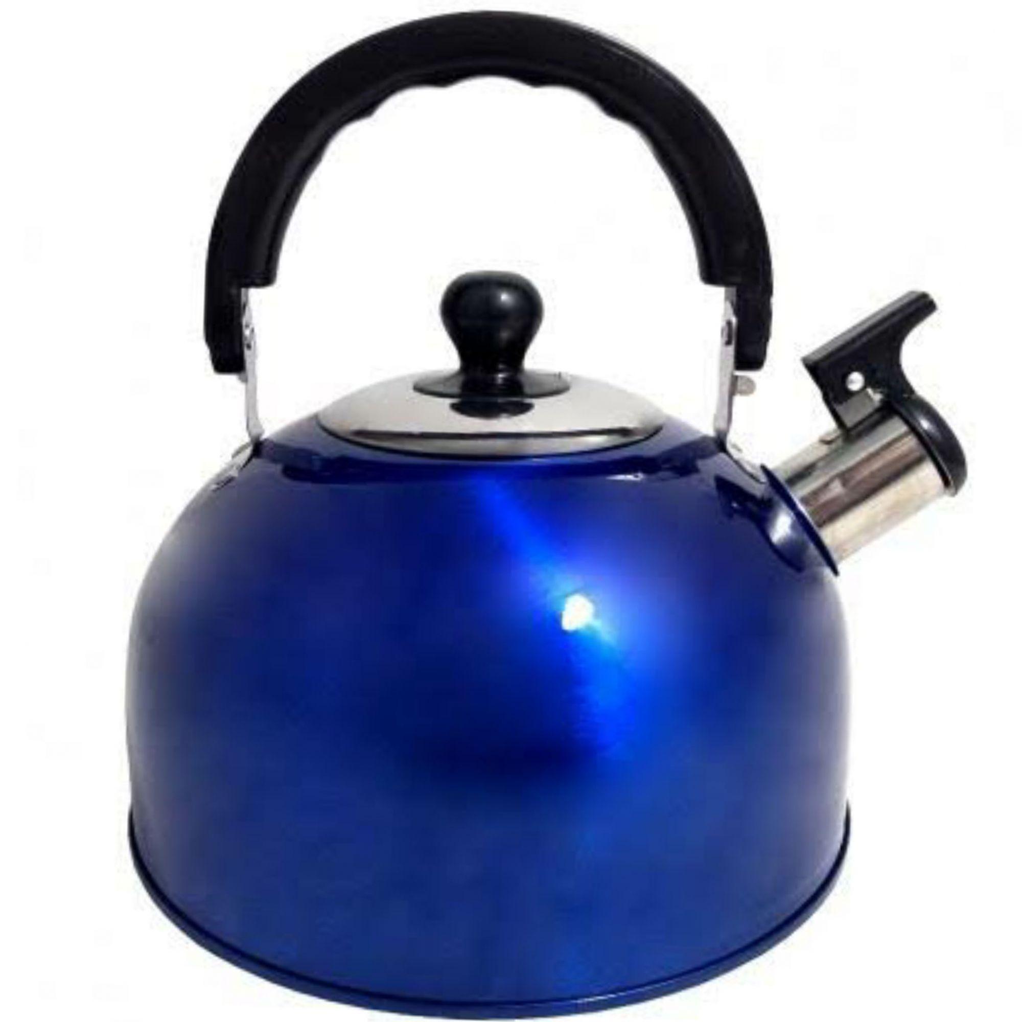 Chaleira Aço Inox alça térmica 2 litros com tampa e apito