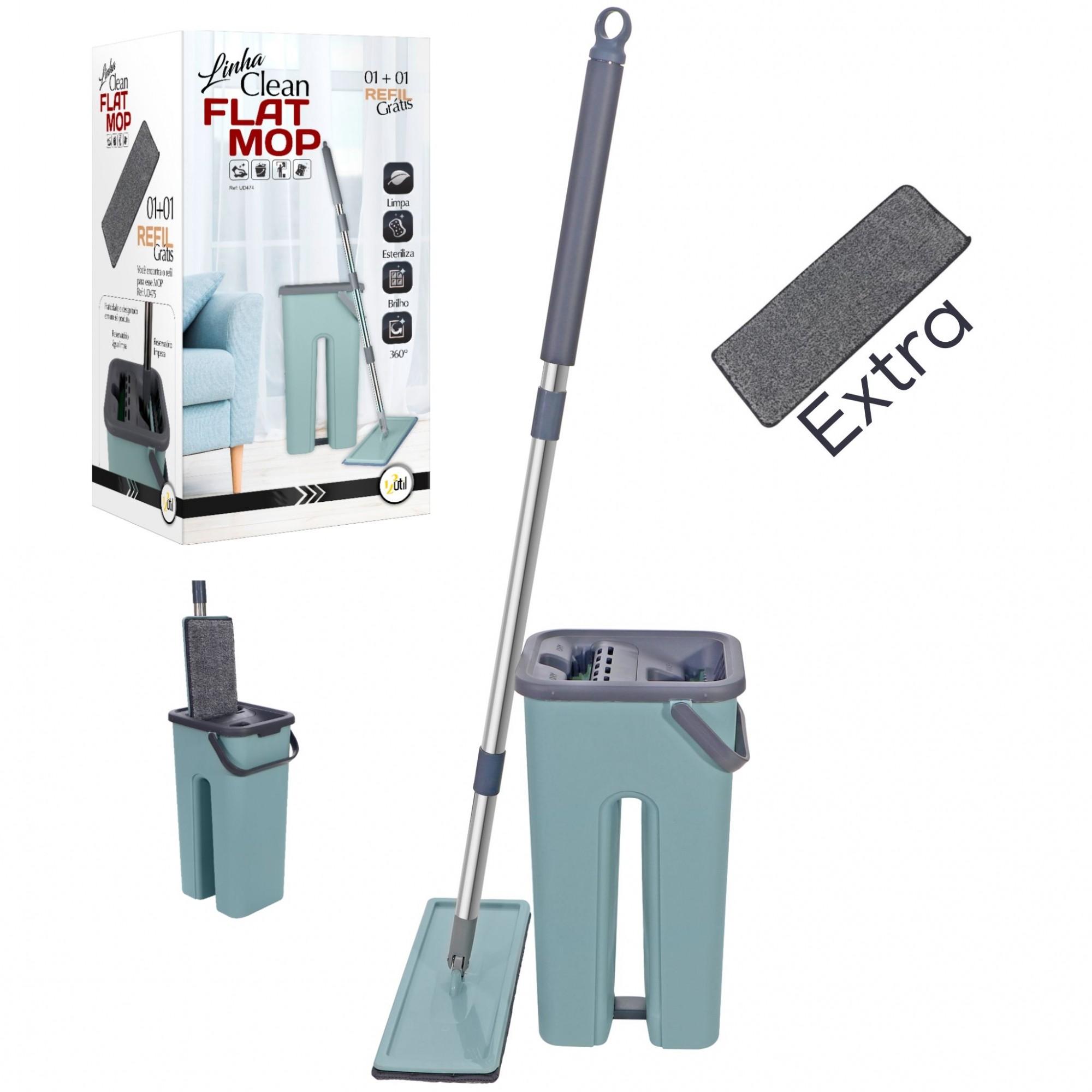 Flat Mop com 1 Refil extra Grátis