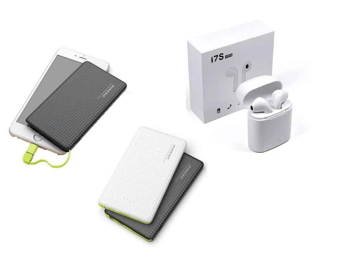 Fone de Ouvido Sem Fio Bluetooth I7s TWS + Carregador Portátil 5000mah Pineng