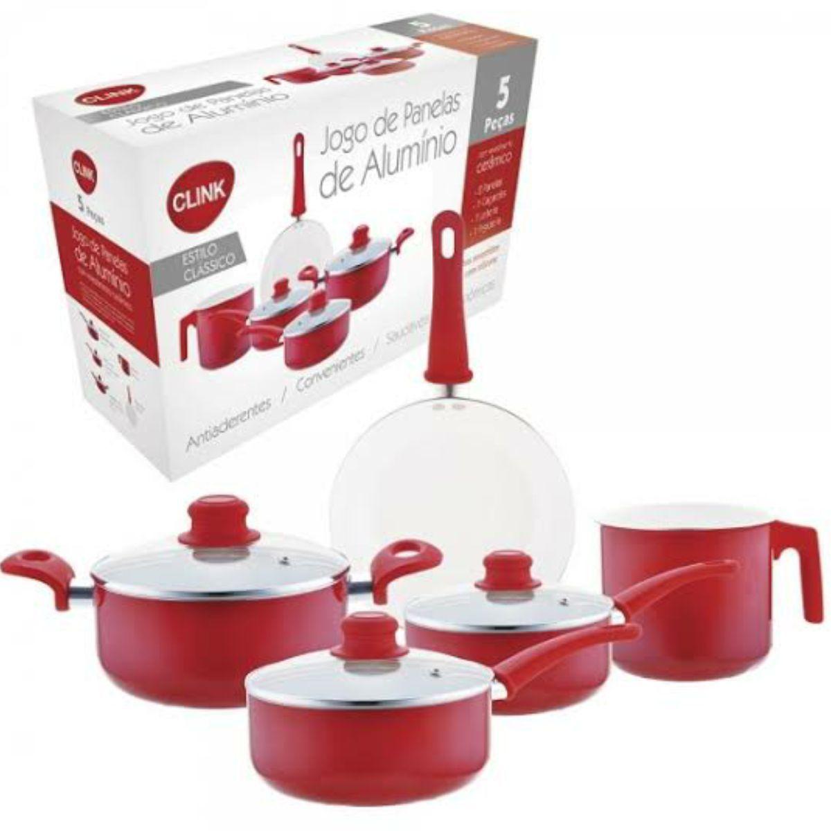 Jogo De Panela Aluminio C/ Revestimento Ceramico Kit 5pcs
