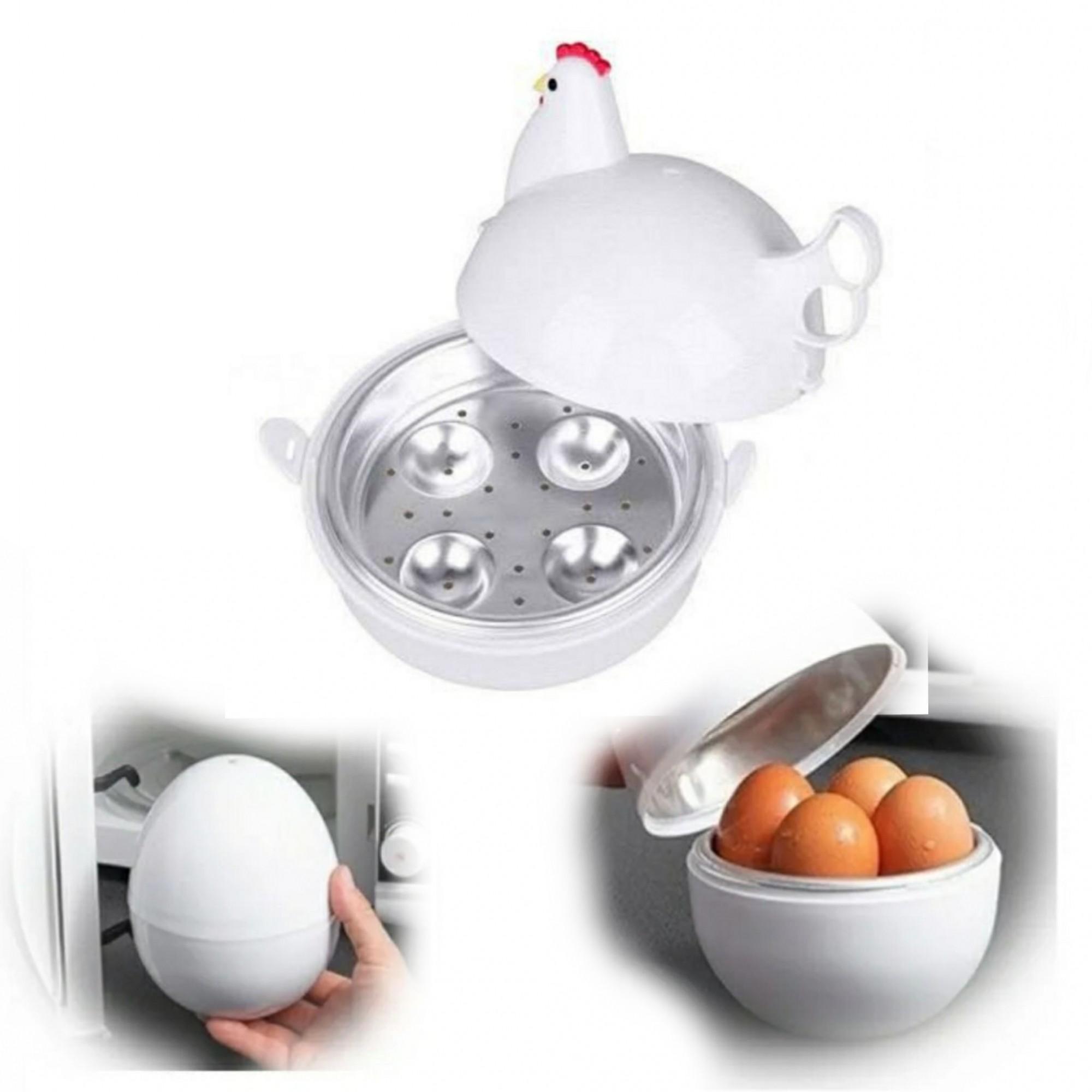 Kit 1 Marmita de 3 divisórias (cores) e 1 Egg Boiller Galinha - cozinha ovo no microondas