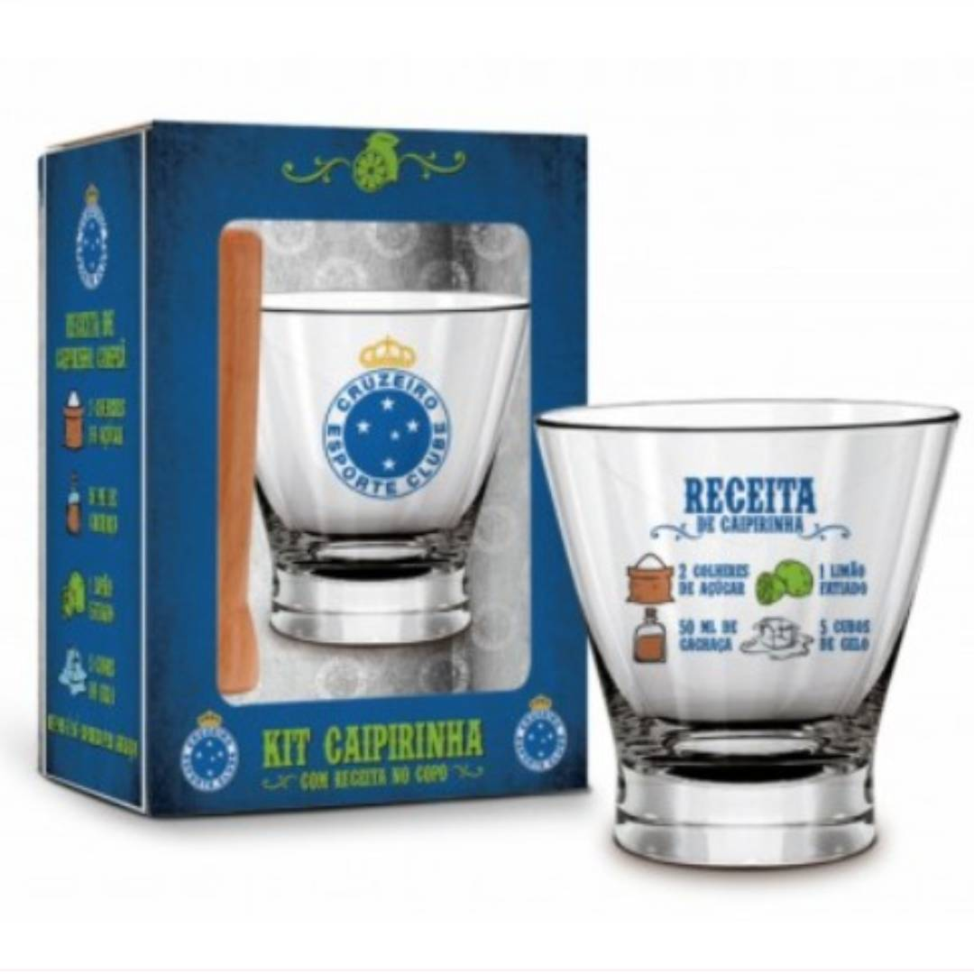 Kit caipirinha vidro 300ml c/receita copo cruzeiro