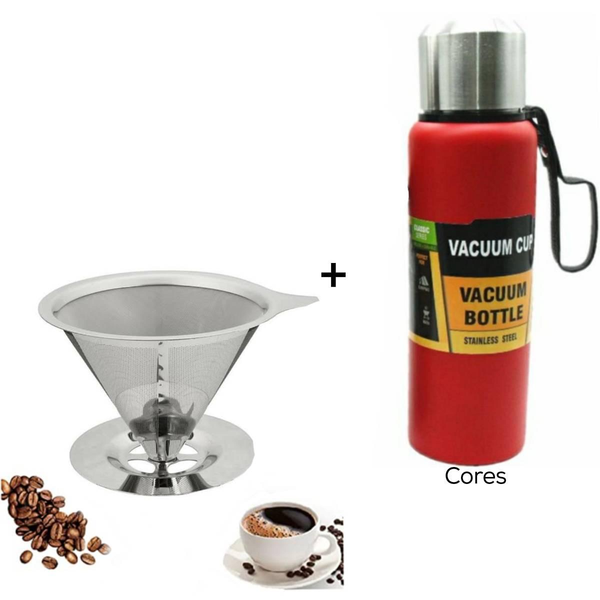 Kit com 1 Coador Inox G e 1 Garrafa Térmica Vacuum Cup 800 ml