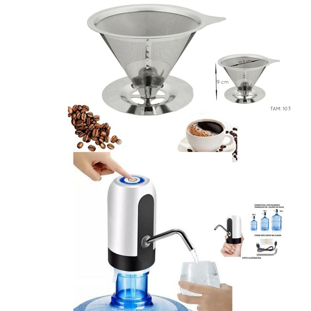 Kit com Coador de Café em Aço Inox Tam. 103 e Bomba de Galão Elétrica recarregável