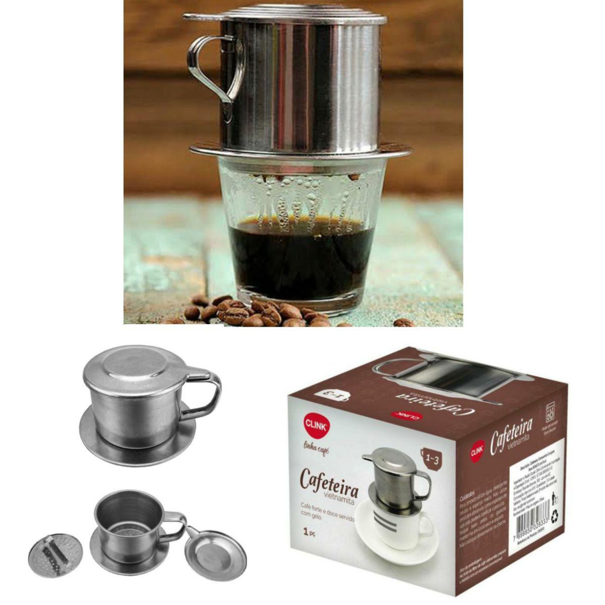 Kit com Coador de Café em Aço Inox Tam. 103 e Cafeteira gotejador Vietnamita