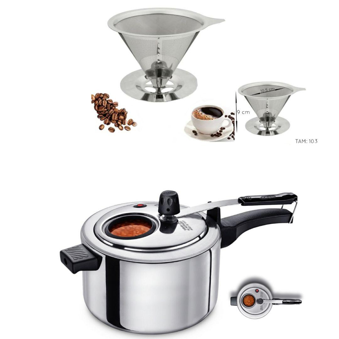 Kit com Coador de Café em Aço Inox Tam. 103 e Panela de Pressão com Visor