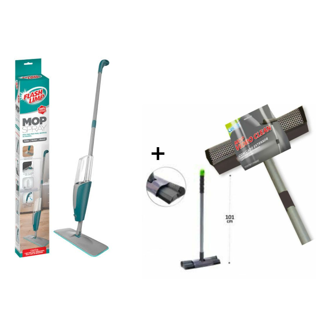 Kit com Mop Spray com reservatório Flash Limp + Mop Vidro Clean