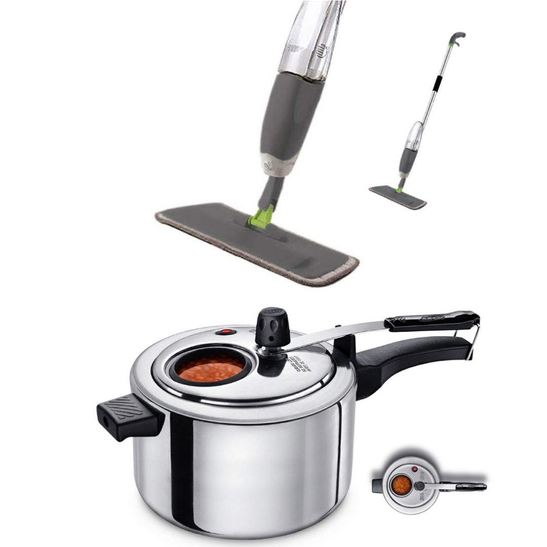Kit com Spray Mop com reservatório + Panela de Pressão com Visor