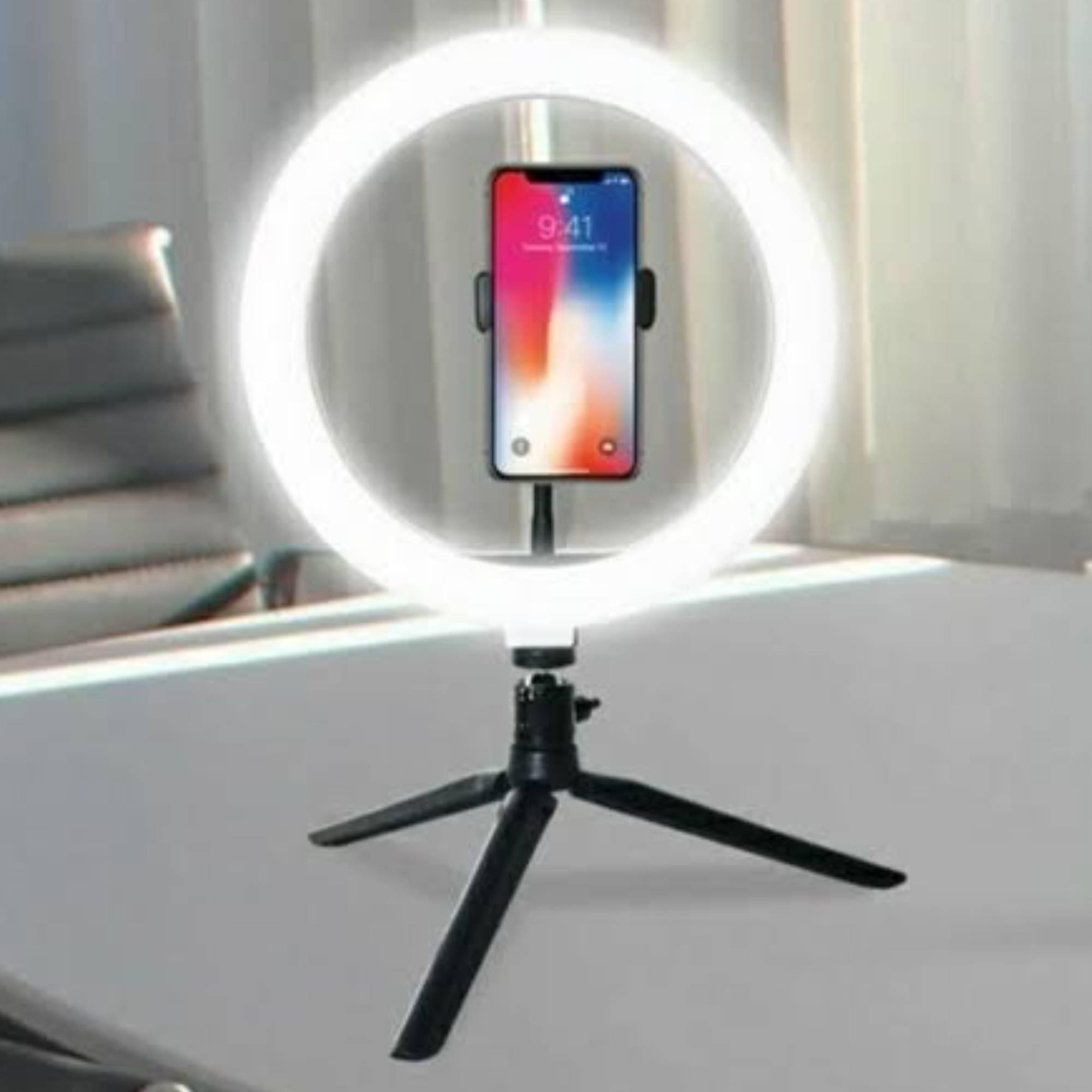 Ring Light 26cm - Iluminador de LED com Suporte Celular e tripé de mesa