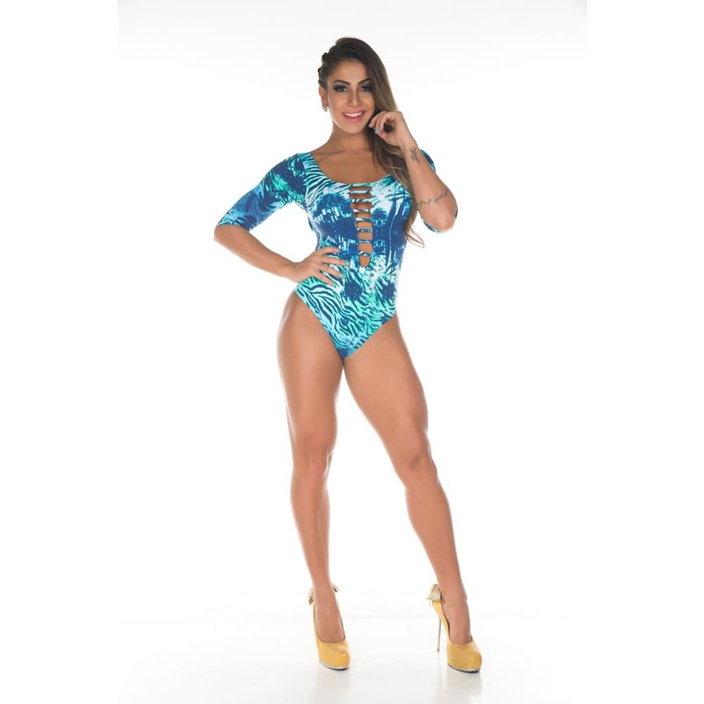 Body Manga Longa Abstract Azul