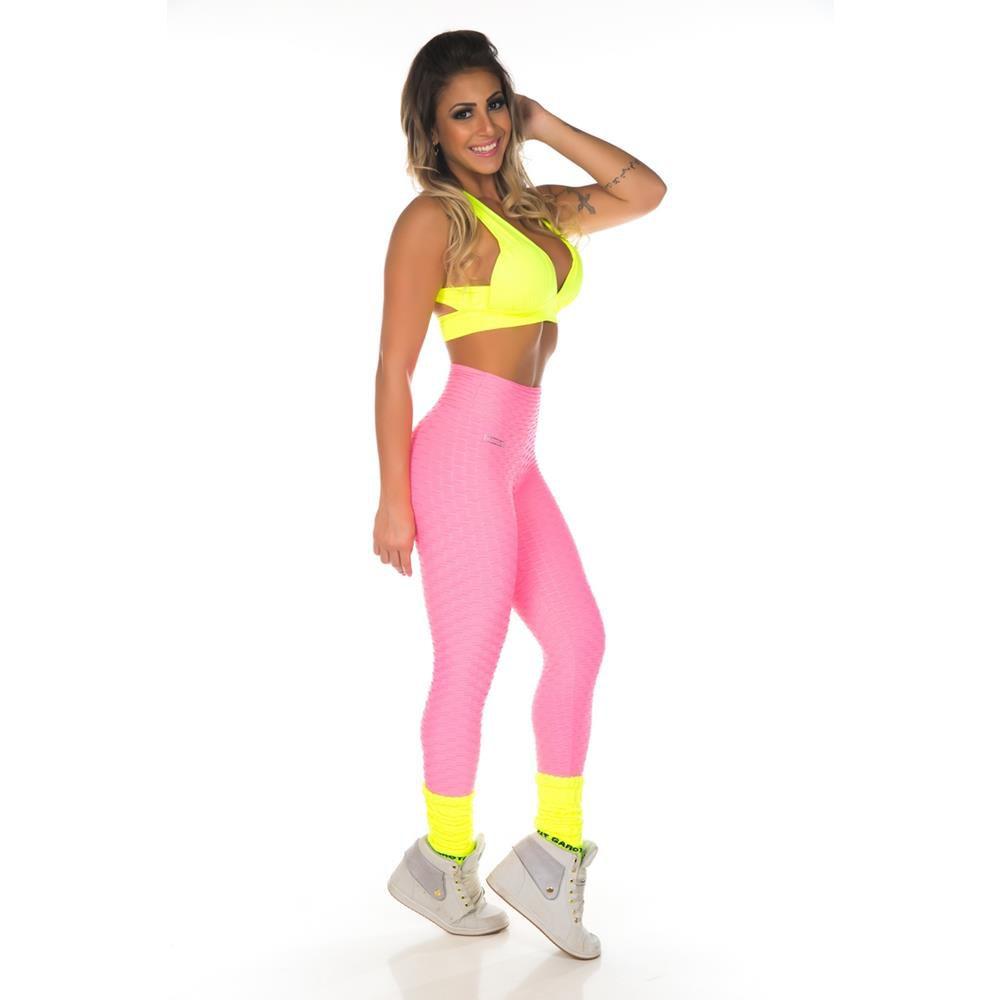 Calça Legging Wave Rosa Let´s Gym