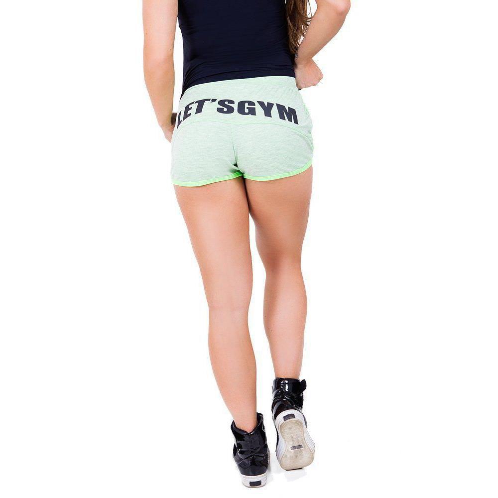 Shorts Moletom Verde Fluor Let´s Gym