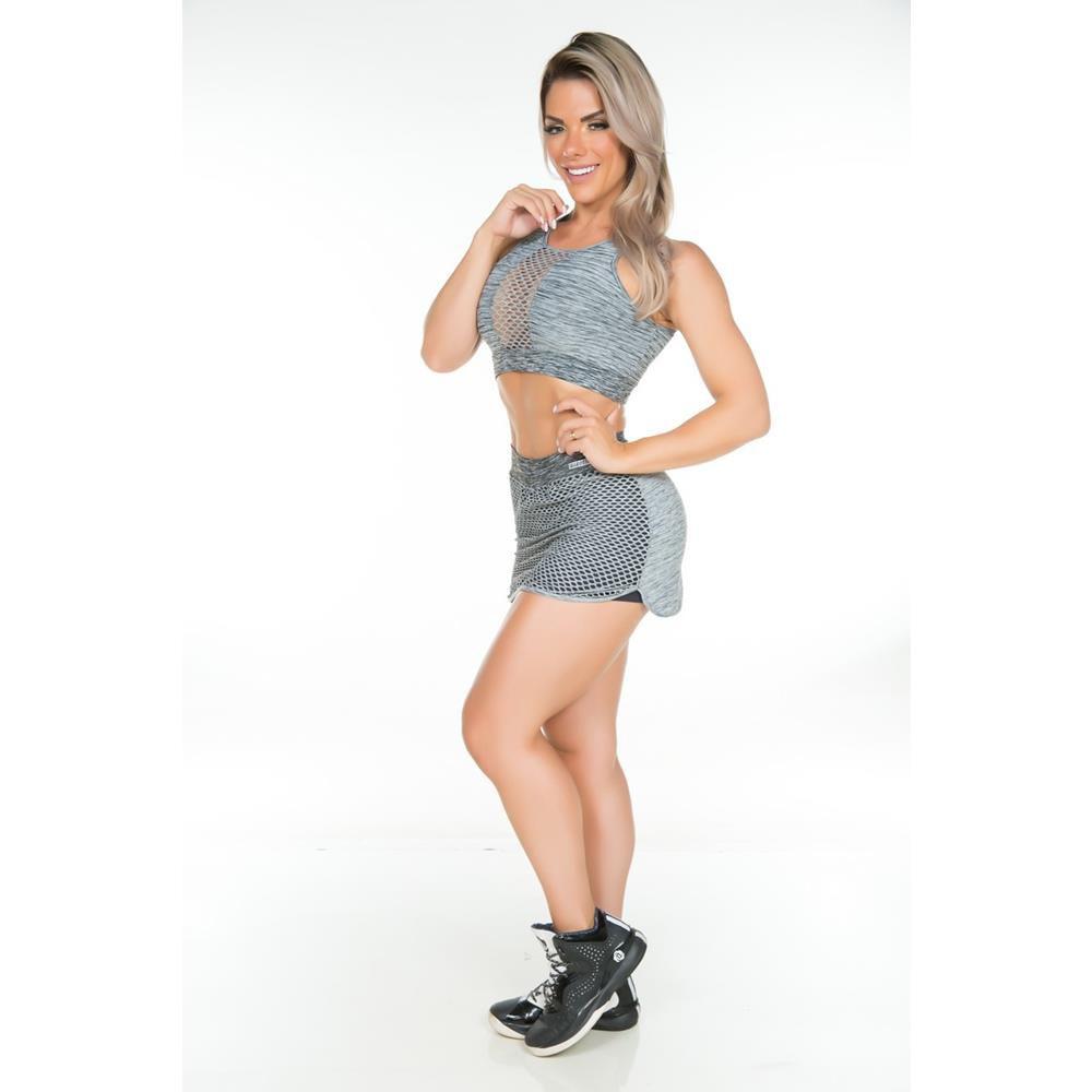 Shorts Saia Arrastão Cinza Garota Fit
