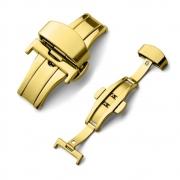 Fecho Borboleta Premium em Aço Inoxidável Dourado para Pulseira de Relógio Smartwatch 20mm