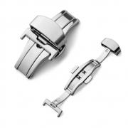 Fecho Borboleta Premium em Aço Inoxidável Prata para Pulseira de Relógio Smartwatch 22mm