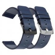 Pulseira 22mm Couro compatível com Samsung Galaxy Watch 3 45mm - Galaxy Watch 46mm - Gear S3 Frontier - Amazfit GTR 47mm (AZUL)