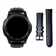 Pulseira 22mm Clássica de Couro compatível com Galaxy Watch 3 45mm - Galaxy Watch 46mm - Gear S3 Frontier - Amazfit GTR 47mm - Amazfit GTR 2 (PRETO)