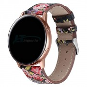 Pulseira Couro Floral compatível com Samsung Galaxy Watch Active 40mm 44mm - Galaxy Watch 3 41mm - Galaxy Watch 42mm - Amazfit GTR 42mm