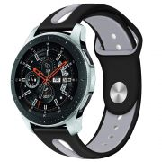 Pulseira de Borracha compatível com Samsung Galaxy Watch 3 45mm - Galaxy Watch 46mm - Gear S3 Frontier - Amazfit GTR 47mm (PRETO / CINZA)