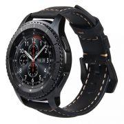 Pulseira Couro BK compatível com Samsung Galaxy Watch 3 45mm - Galaxy Watch 46mm - Gear S3 Frontier - Amazfit GTR 47mm - Huawei Watch GT2 46mm (PRETO)
