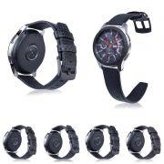 Pulseira Couro Carbon compatível com Samsung Galaxy Watch 3 45mm - Galaxy Watch 46mm - Gear S3 Frontier - Amazfit GTR 47mm - Huawei Watch GT 2 46mm