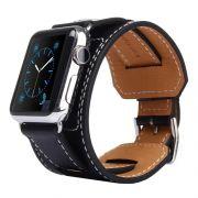 Pulseira de Couro Cuff compatível com Apple Watch 40mm e 38mm (PRETO)