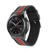 Pulseira de Couro e Nylon para Samsung Gear S3 Frontier - Gear S3 Classic - Galaxy Watch 46mm (Preto)