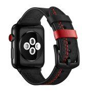 Pulseira de Couro Especial compatível com Apple Watch 40mm e 38mm (PRETO COM VERMELHO)