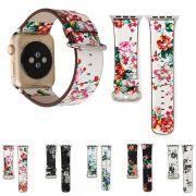 Pulseira Couro Floral compatível com Apple Watch 44mm e 42mm