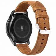 Pulseira Couro compatível com Galaxy Watch Active 1 e 2 - Galaxy Watch 3 41mm - Galaxy Watch 42mm - Amazfit GTR 42mm (MARROM-CLARO)