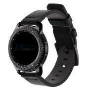 Pulseira 22mm Couro compatível com Samsung Galaxy Watch 3 45mm - Galaxy Watch 46mm - Gear S3 Frontier - Amazfit GTR 47mm (PRETO)