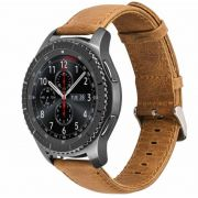 Pulseira Couro compatível com Samsung Galaxy Watch 3 45mm - Galaxy Watch 46mm - Gear S3 Frontier - Gear S3 Classic - Amazfit GTR 47mm (MARROM-CLARO)