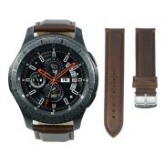 Pulseira Clássica de Couro compatível com Samsung Galaxy Watch 3 45mm - Galaxy Watch 46mm - Gear S3 Frontier - Amazfit GTR 47mm (MARROM)