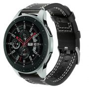 Pulseira de Couro compatível com Samsung Galaxy Watch 3 45mm - Galaxy Watch 46mm - Gear S3 Frontier - Amazfit GTR 47mm (PRETO)