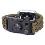 Pulseira de Sobrevivência Paracord com Pederneira compatível com Apple Watch 44mm e 42mm (VERDE MILITAR)