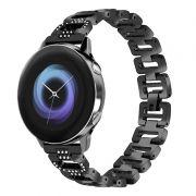 Pulseira Luxury Slim compatível com Galaxy Watch Active - Galaxy Watch 3 41mm - Galaxy Watch 42mm - Amazfit GTR 42mm (PRETO)