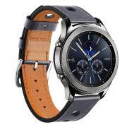 Pulseira Sport Couro 22mm compatível com Samsung Galaxy Watch 3 45mm - Galaxy Watch 46mm - Gear S3 Classic - Gear S3 Frontier (CINZA)