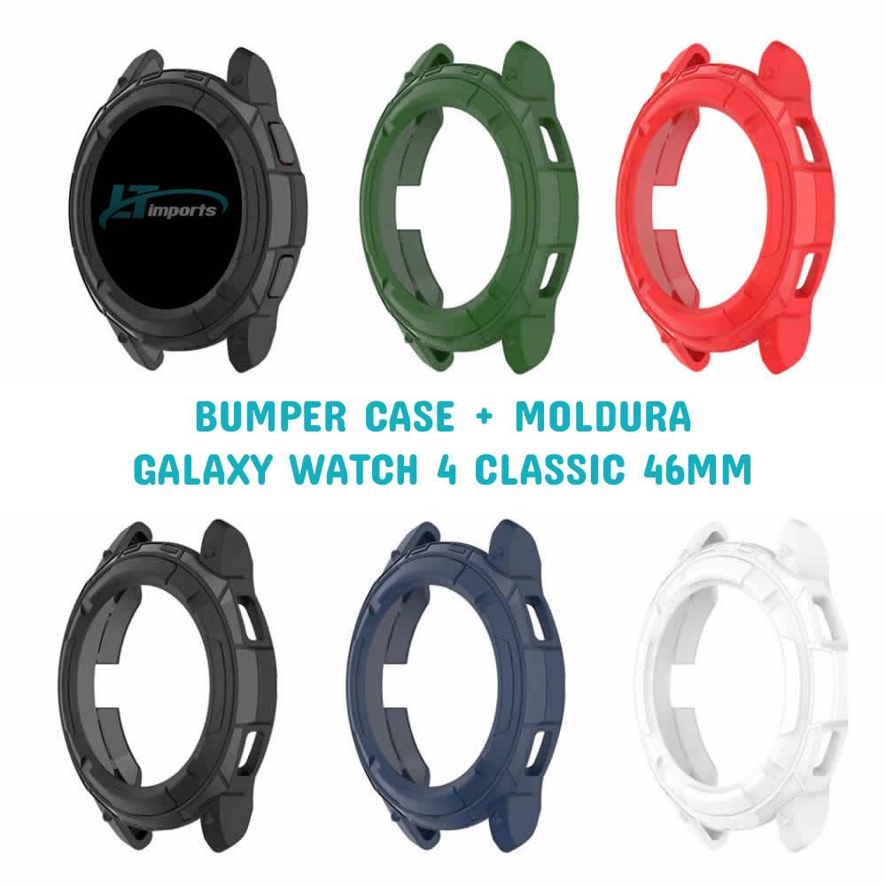 Capa Protetora Bumper Case + Moldura compatível com Samsung Galaxy Watch 4 Classic 46mm SM-R890 / SM-R895
