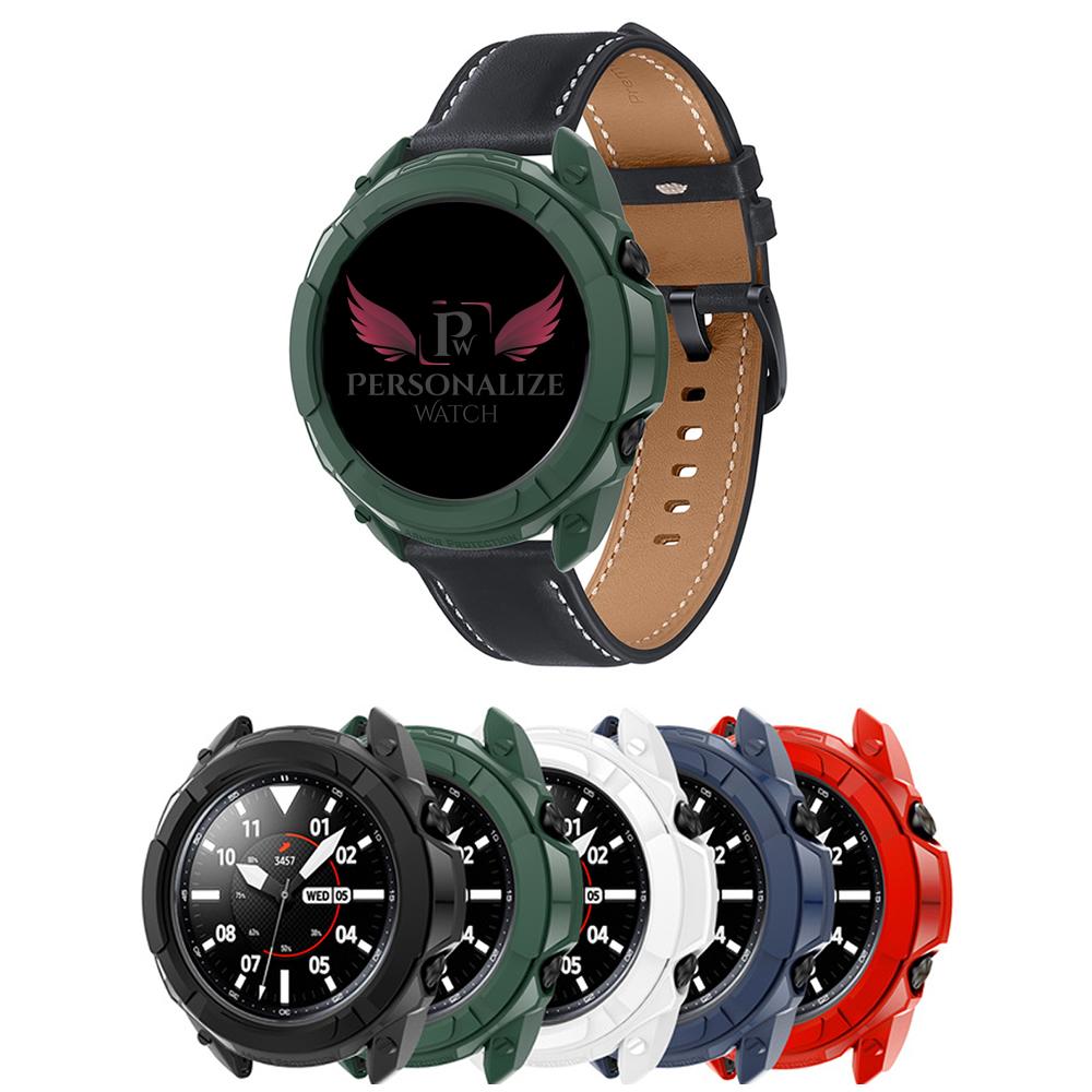 Capa Protetora Bumper Case + Moldura do Bisel compatível com Samsung Galaxy Watch 3 45mm