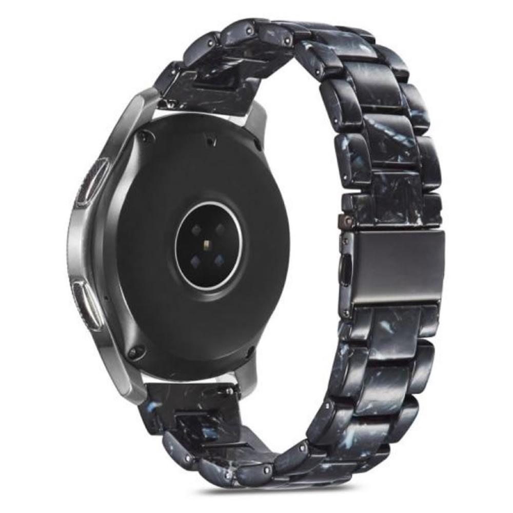 Pulseira 3 Elos Resina compatível com Samsung Galaxy Watch 3 45mm - Galaxy Watch 46mm - Gear S3 Frontier - Amazfit GTR 47mm - GTR 2 (Perola Negra)