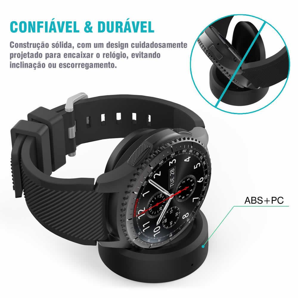 Dock Carregador para Samsung Gear S3 Frontier - Gear S3 Classic - Gear S2 Classic - Galaxy Watch 42mm - Galaxy Watch 47mm