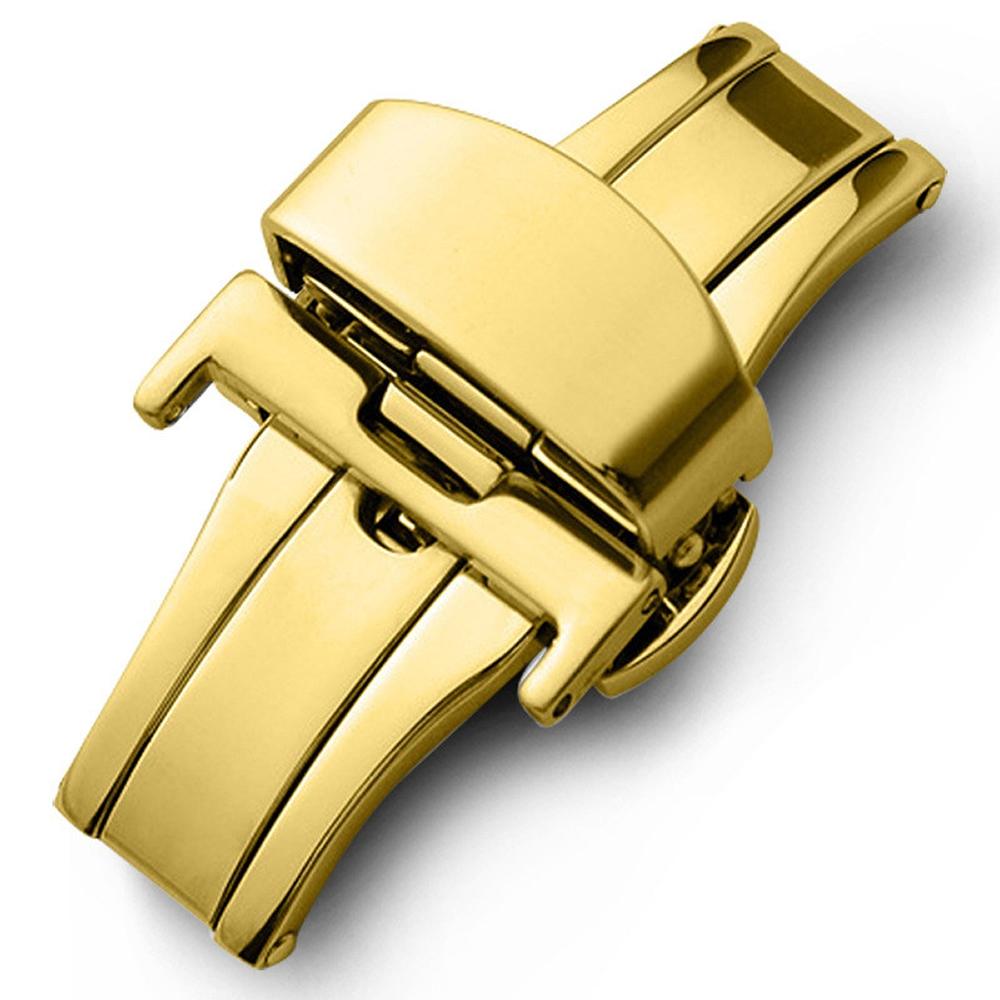 Fecho Borboleta Premium em Aço Inoxidável Dourado para Pulseira de Relógio Smartwatch 22mm