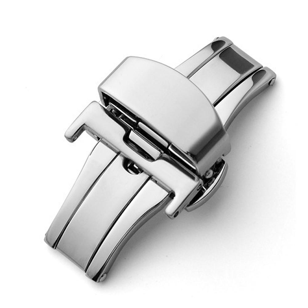 Fecho Borboleta Premium em Aço Inoxidável Prata para Pulseira de Relógio Smartwatch 20mm