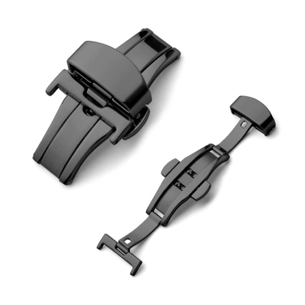Fecho Borboleta Premium em Aço Inoxidável Preto para Pulseira de Relógio Smartwatch 22mm