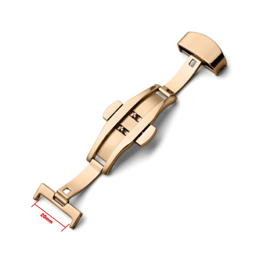 Fecho Borboleta Premium em Aço Inoxidável Rose Gold para Pulseira de Relógio Smartwatch 20mm